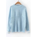 New Style Horizontal Vertical Striped Turn Up Cuffs Round Neck Long Sleeve Sweater