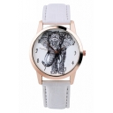 Fashion Elephant Print Leather Band Quartz Watch