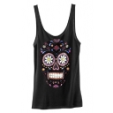 Fashion Floral Skull Print Sleeveless Top Black/White