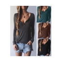 Women's Sexy V-neck Long Sleeve Knit T-shirt