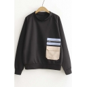 Stylish Color Block Pocket Long Sleeve Pullover Sweatshirt