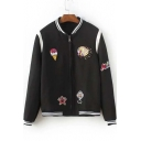 Stand-Up Collar Zip-Front Embroidery Cartoon Pattern Color Block Bomber Jacket