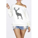 New Arrival Sexy Off the Shoulder Deer Print Long Sleeve Sweatshirt