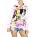 New Arrival Stylish Painted Zip Front Baseball Jacket