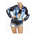 Popular Stylish Oil Print Contrast Trim Baseball Jacket