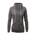 2016 Trendy Stand Collar Oblique Zipper Long Sleeve Sweatshirt Coat