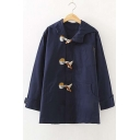 Fashion Embroidery Horn Button Long Sleeve Hooded Long Coat