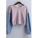 Trendy Denim Panel Drop Long Sleeve Hooded Elastic Waist Cropped Sweater