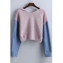 Trendy Denim Panel Drop Long Sleeve Hooded Elastic Waist Cropped Sweater