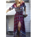 New Style Geometric Print Plunge Neck Single Breasted Split Hem Half Sleeve Maxi Beach Dress