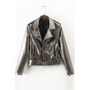 Notched Lapel Long Sleeve Belt Waist Zipper Placket Leather Jacket