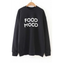Loose Letter Print Round Neck Long Sleeve Tunic Pullover Sweatshirt