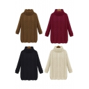 Women's Fall Winter High Neck Side Slit Detail Pullover Sweaters