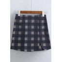 2016 Autumn New Arrival Plaid Printed Short Skirt
