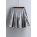Autumn Spring New High Waist Pleated Pu Skirt