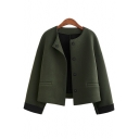 Autumn Winter Collarless Long Sleeve Button Front Cropped Coat