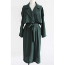 New Arrival Vintage Style Notched Lapel Long Sleeve Long Trench Coat