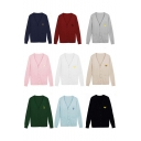 Women's Trendy Cartoon Embroidered Long Sleeve V-neck Sweater