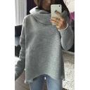 New Arrival Trendy Scarf Neck Asymmetrical Hem Long Sleeve Sweatshirt