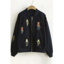 Stylish Cartoon Embroidered Zipper Front Baseball Jacket
