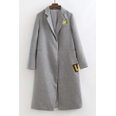Notched Lapel Embroidery Pattern Open-Front Split Back Slim Maxi Coat