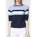 New Stylish Half Sleeve Striped Color Block Pullover Sweater