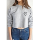 Fashion Cute Letter Print Long Sleeve Round Neck Crop Top Pullover Sweatshirt