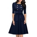 Women's Retro Elegant Half Sleeve Button Front Swing Midi Dress