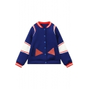 Stylish Color Block Contrast Trim Long Sleeve Single Breasted Coat
