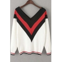 New Stylish V-Neck Contrast Striped Trim Batwing Sleeve Sweater