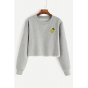 Sexy Embroidery Pineapple Print Round Neck Long Sleeve Pullover Cropped Sweatshirt