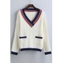 Fashion Contrast Trim Color Block Plunge Neck Drop Long Sleeve Sweater