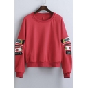 Loose Graphic Panel Long Sleeve with Zip Pocket Pullover Sweatshirt