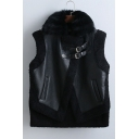 Fall Winter Faux Fur Round Neck Sleeveless Leather Motorcycle Vest