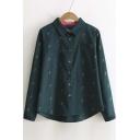 Fall Winter Radish Print Contrast Lapel Long Sleeve Single Breasted Shirt