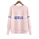 Fashion Girls Stripe Round Neck Long Sleeve Sweatshirt