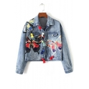 Stylish Colorful Butterfly Embroidered Lapel Denim Jacket