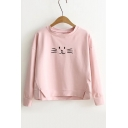 2016 Trendy Cute Cat Embroidered Slit Detail Pullover Sweatshirt
