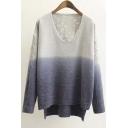Trendy Color Block V-neck Dip Hem Long Sleeve Sweater