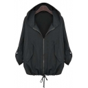 2016 New Casual Hooded Loose Drawstring Casual Coat Street