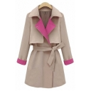 Women's Stylish Color Block Notched Lapel Long Sleeve Trench Coat