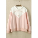 WANT TO BE WITH YOU Letter Embroidered Color Block Pullover Sweatshirt