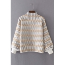 Wave Striped Print Half High Neck Long Sleeve Elastic Cuffs Sweater