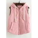 Women's Oversized Hooded Zipper Placket Sleeveless Casual Vest