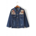 New Stylish Tribal Embroidery Print Single Breasted Lapel Long Sleeve Denim Jacket