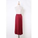 Elastic Waist Plain Maxi Pleated Skirt