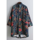 New Arrival Fashion Rose Camo Printed Dip Hem Long Trench Coat