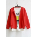 New Arrival Open-Front Long Sleeve Cropped Cardigan Red/Pink/Gray/Black