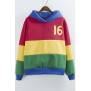 2016 Fashion Color Block 16 Long Sleeve Fleece Hoodie