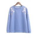New Arrival Floral Embroidered Long Sleeve Pullover Sweatshirt
